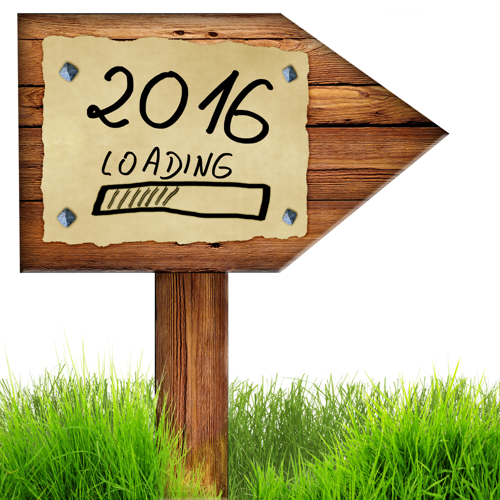 Wood arrow sign with 2016 loading handwritten on old page of paper nailed to planks, green grass around, isolated on a white background.